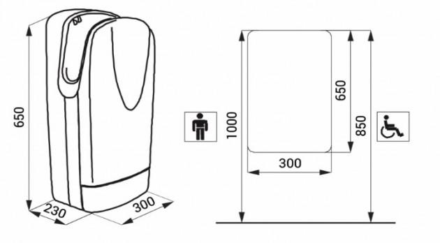 Schiță dimensiuni Uscator de maini automat, carcasa alba - SANELA SLO 01L
