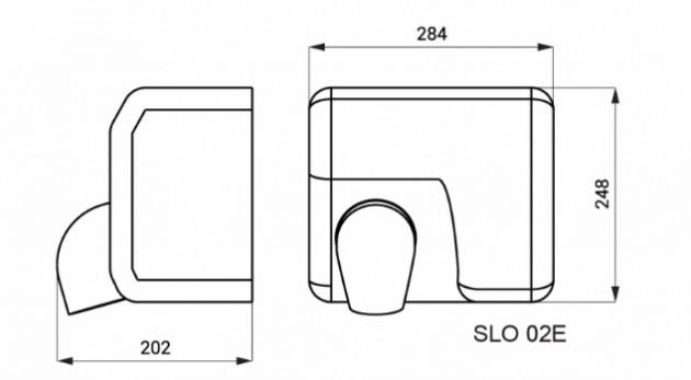 Schiță dimensiuni Uscator de maini automat din otel inox - SANELA SLO 02E