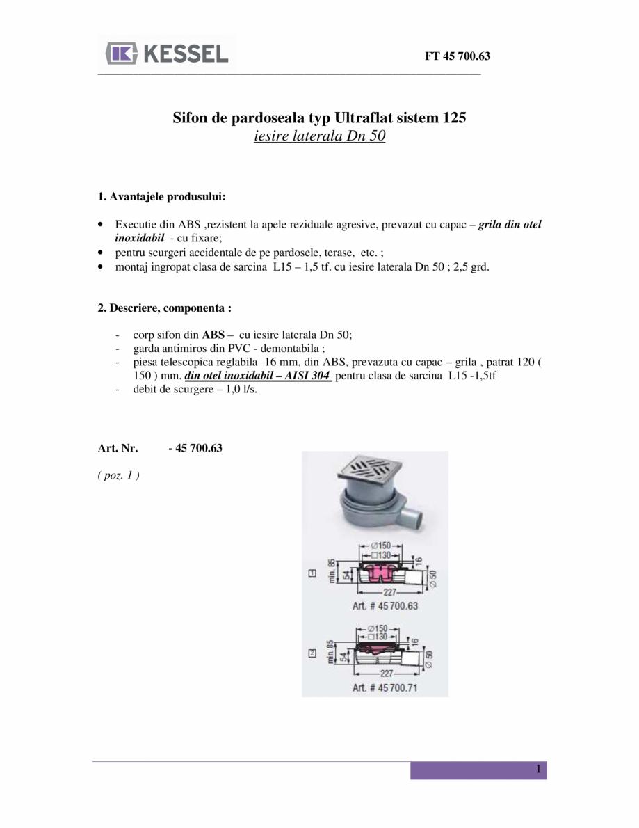 Fisa tehnica Sifon de pardoseala typ Ultraflat sistem 125 iesire ...