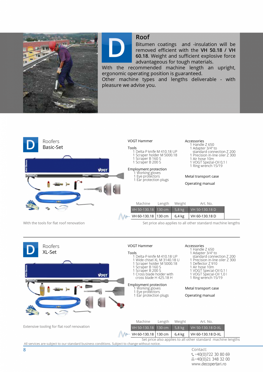 Pagina 8 - Catalog produse VOGT 2015 VOGT Catalog, brosura Engleza ual  Weight  Art. No.  VH 50-130....