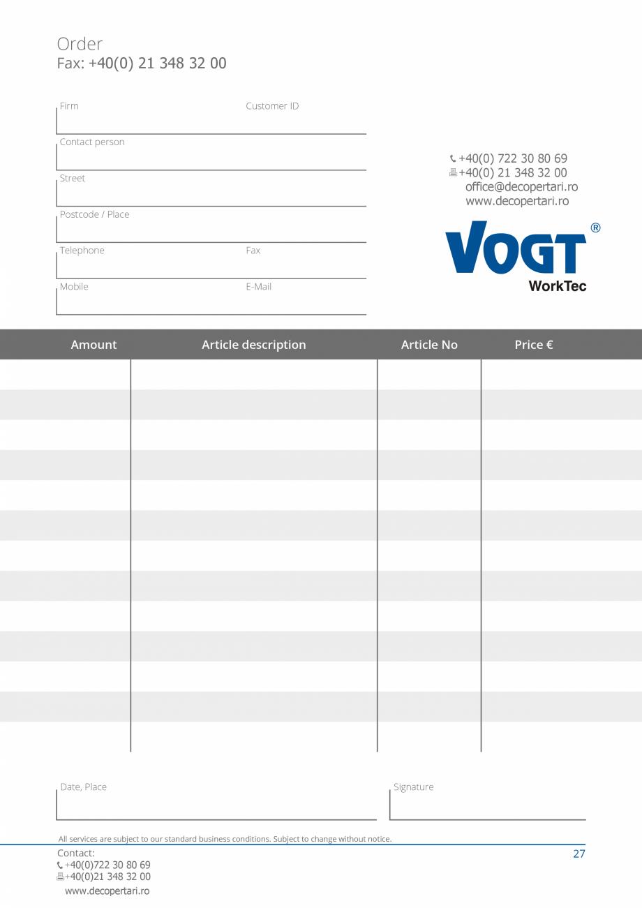 Pagina 27 - Catalog produse VOGT 2015 VOGT Catalog, brosura Engleza l joints ƒƒ removing bonded...