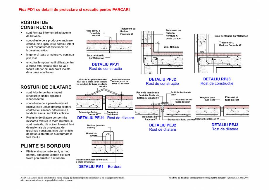 Pagina 1 - CAD-PDF Fisa PD1 /PD2 cu detalii de proiectare si executie pentru parcari UNICO PROFIT...