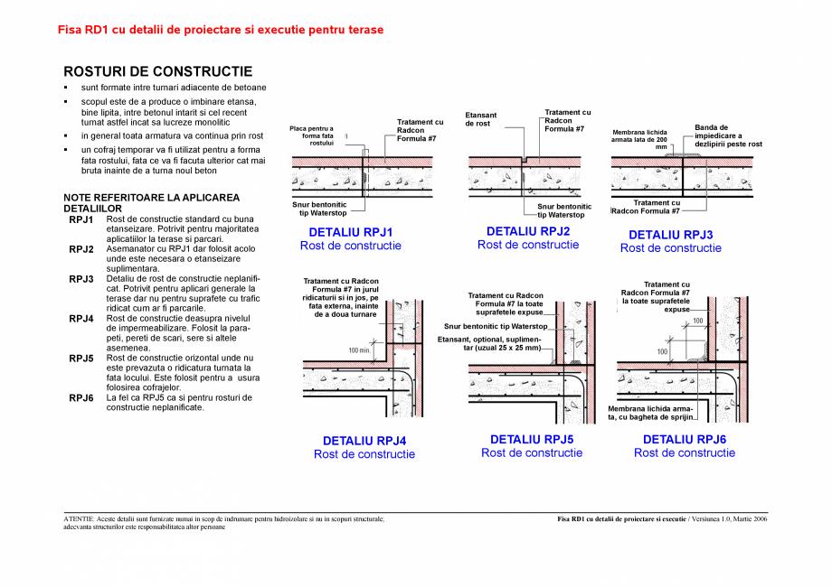 Pagina 1 - CAD-PDF Fisa RD cu detalii de proiectare si executie pentru terase UNICO PROFIT Detaliu...