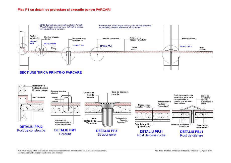Pagina 1 - CAD-PDF Fisa P1 cu detalii de proiectare si executie pentru parcari UNICO PROFIT Detaliu ...