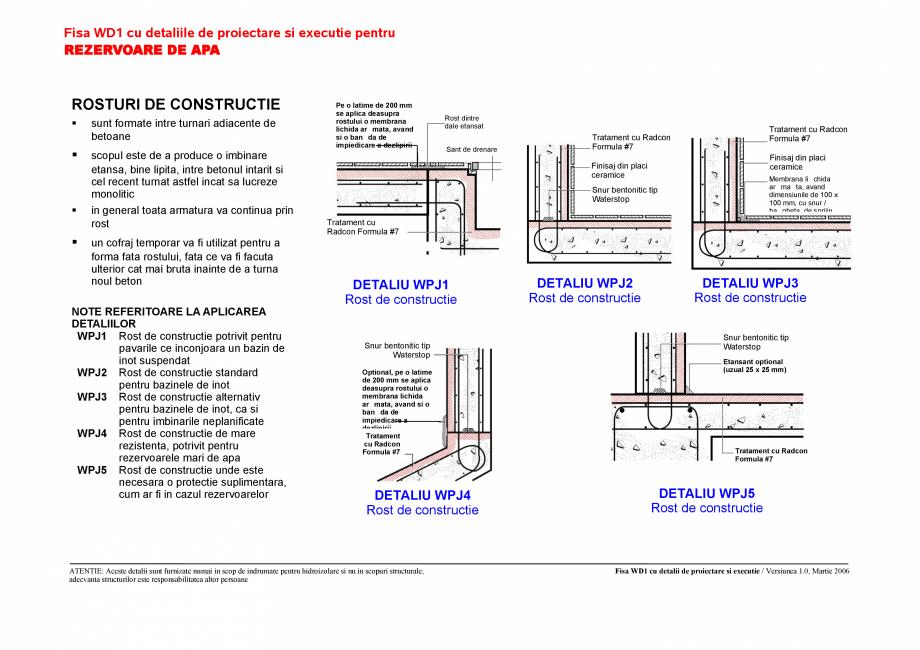 Pagina 1 - CAD-PDF Fisa WD1 cu detaliile de proiectare si executie pentru rezervoare de apa UNICO...