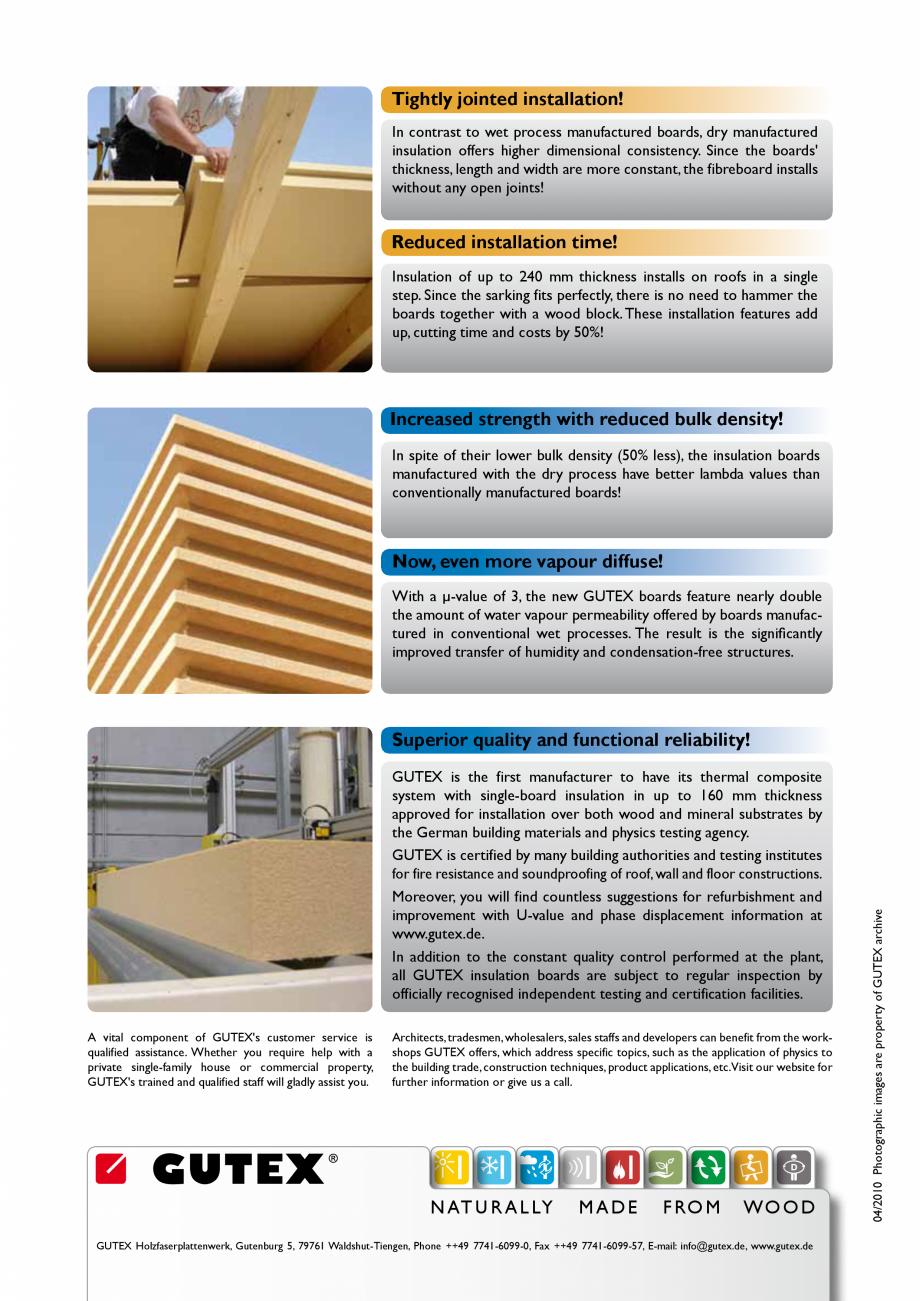 Pagina 2 - Avantajele placilor din fibre lemnoase GUTEX Multiplex-top, Multitherm, Thermoflex,...