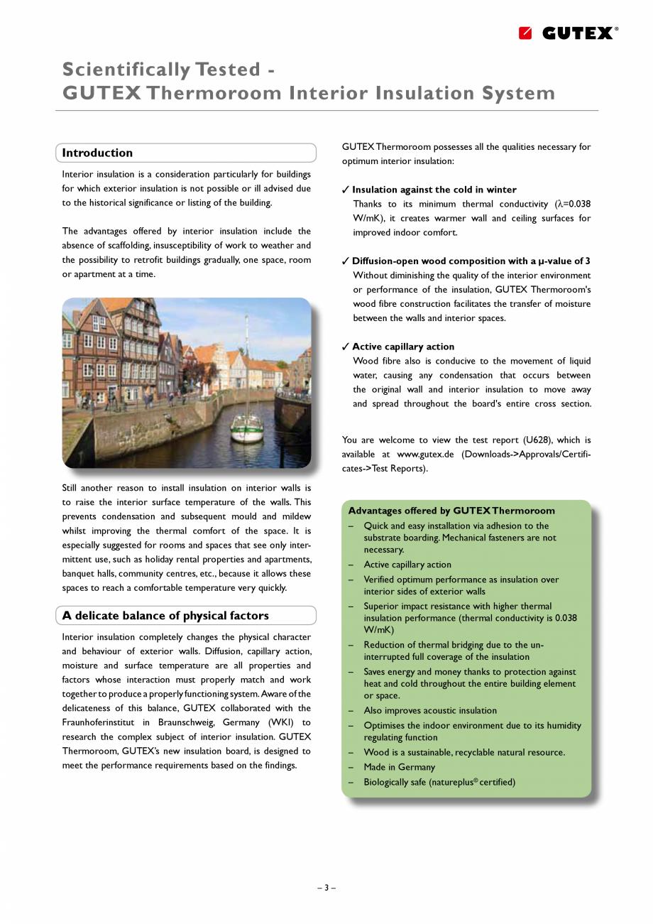 Pagina 3 - Placa izolatoare monostrat din fibre lemnoase GUTEX Thermoroom Catalog, brosura Engleza...