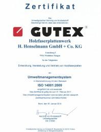 Certificat Gutex ISO 14001:2009