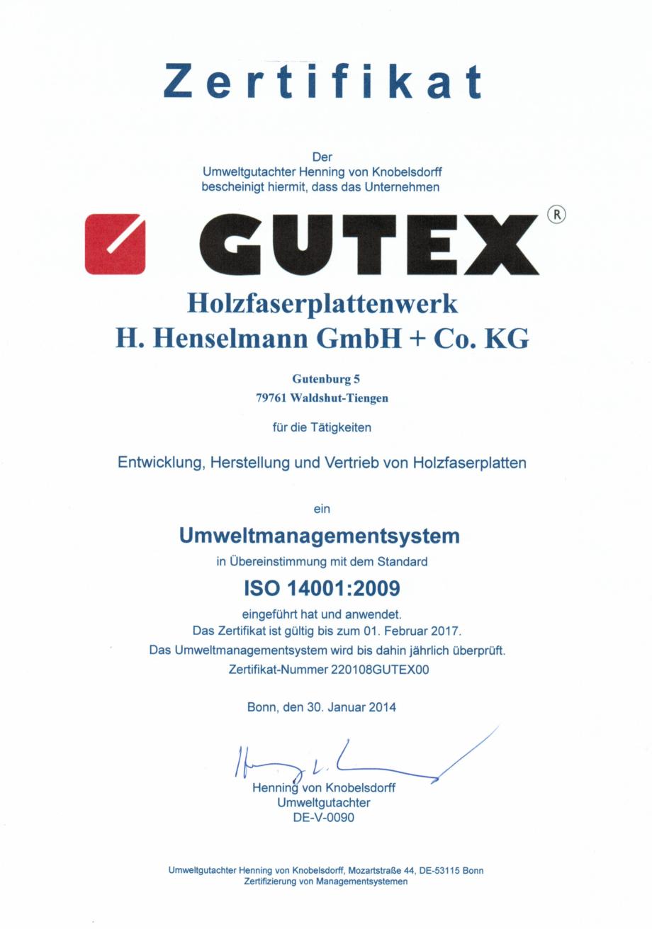 Pagina 1 - Certificat Gutex ISO 14001:2009 GUTEX Multiplex-top, Multitherm, Thermoflex, Thermoroom, ...
