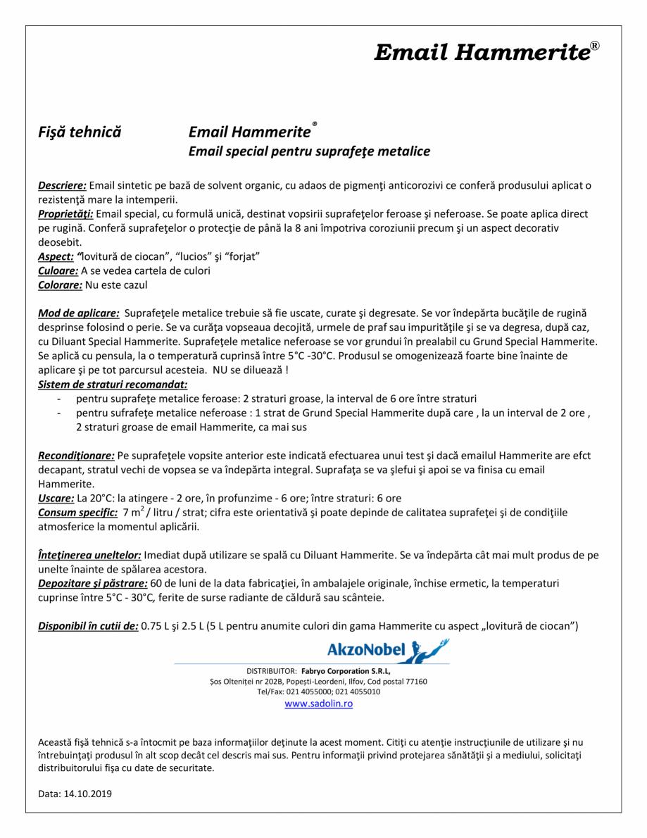 Pagina 1 - Email special pentru suprafete metalice HAMMERITE EMAIL - Lucios, EMAIL - Lovitura de...