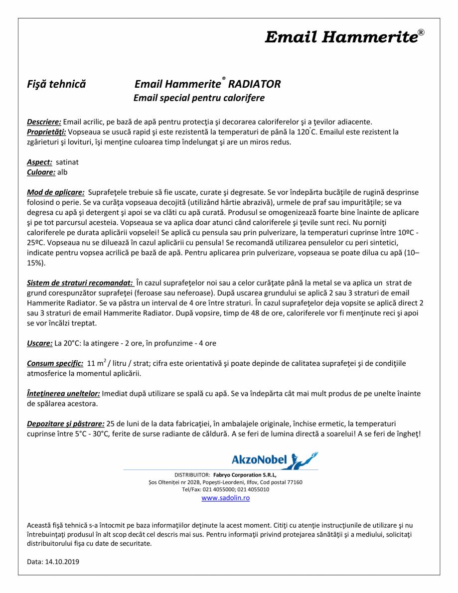Pagina 1 - Email special pentru calorifere HAMMERITE Radiator Fisa tehnica Romana Email Hammerite® ...