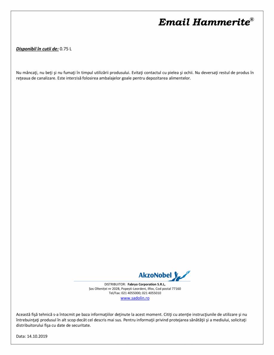 Pagina 2 - Email special pentru calorifere HAMMERITE Radiator Fisa tehnica Romana plică cu pensula ...
