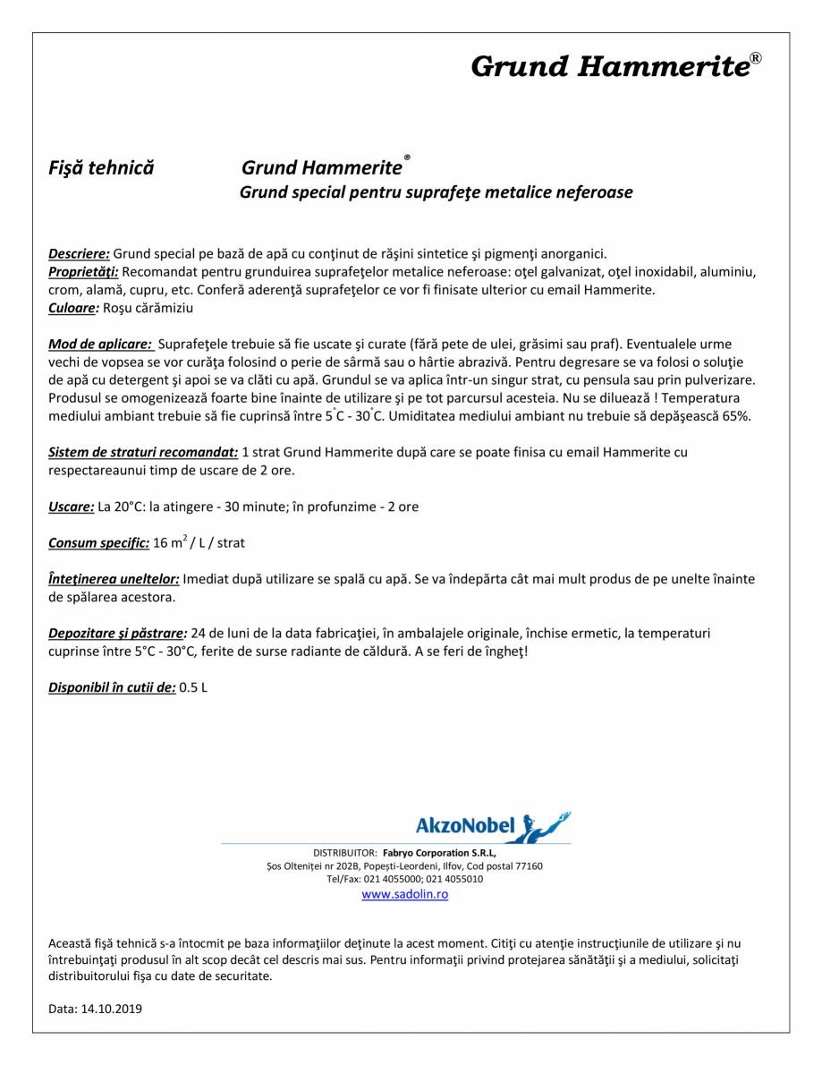 Pagina 1 - Grund special pentru suprafete metalice neferoase HAMMERITE Special Metals Primer Fisa...