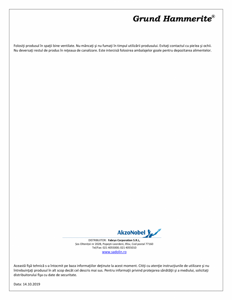 Pagina 2 - Grund special pentru suprafete metalice neferoase HAMMERITE Special Metals Primer Fisa...