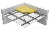 """Tavane acustice Plafoane suspendate pentru absorbite acustica tip """"TD"""", formate prin fixarea unui rand de placi NIDA SONIC pe o structura metalica orizontala dubla, alcatuita din profile tip NIDA Metal CD60, cu sau fara vata minerala la interior."""