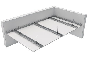 "Tavane din gips carton Plafoane suspendate tip ""TS"", formate prin fixarea unui rand de placi NIDA pe o structura metalica orizontala simpla, alcatuita din profile tip NIDA Metal CD60, cu sau fara vata minerala la interior."