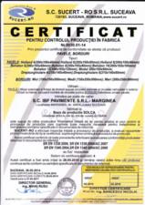 Certificat pentru controlul productiei in fabrica - pavele, borduri