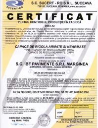 Certificat pentru controlul productiei in fabrica - capace de rigola armate si nearmate