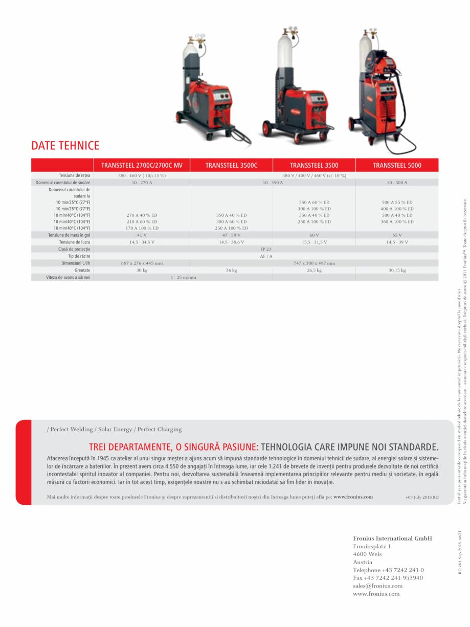 Pagina 4 - Echipament sudura MIG/MAG FRONIUS TransSteel 3500 Synergic, TransSteel 5000 Synergic...