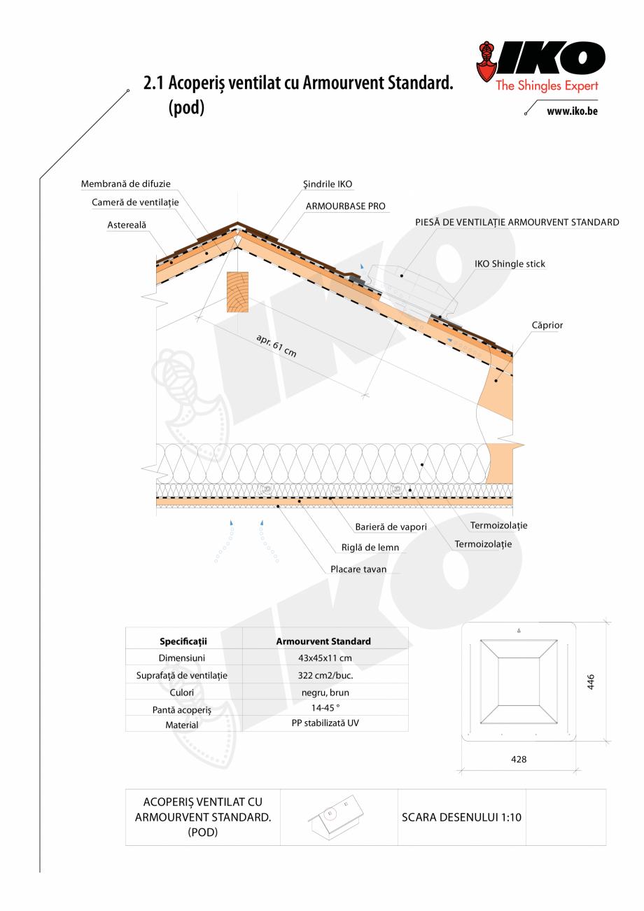Pagina 1 - CAD-PDF Ventilare cu Armourvent Standard IKO Detaliu de montaj