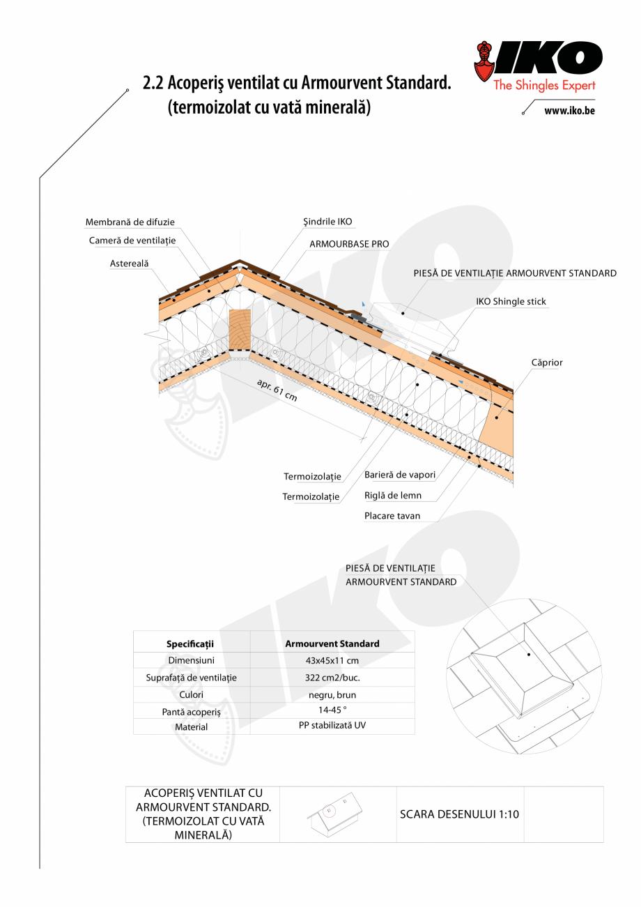 Pagina 2 - CAD-PDF Ventilare cu Armourvent Standard IKO Detaliu de montaj