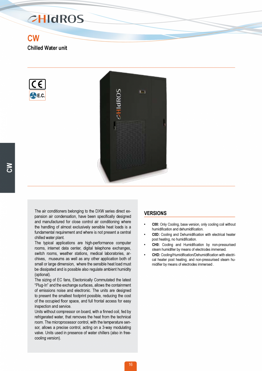 Pagina 15 - Catalog sisteme de climatizare Close Control HACE DXA, DXW Catalog, brosura Engleza k)...