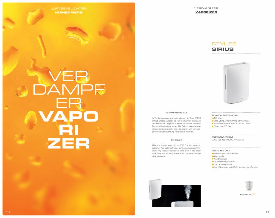 Pagina 6 - Umidificatoare pentru aer  STYLIES Catalog, brosura Engleza, Germana dishwasher-safe)...