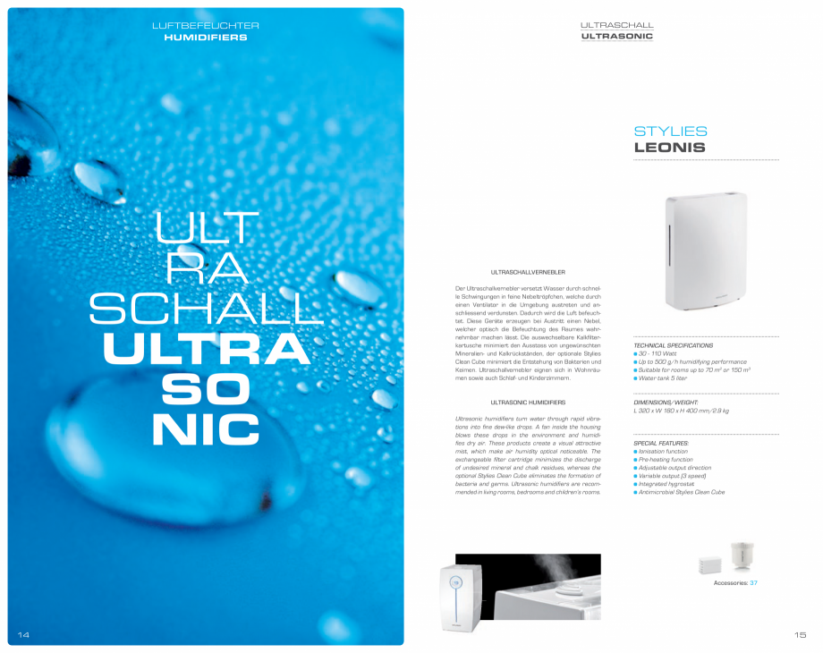 Pagina 8 - Umidificatoare pentru aer  STYLIES Catalog, brosura Engleza, Germana eiben in fester Form...