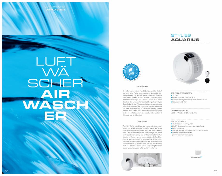 Pagina 11 - Umidificatoare pentru aer  STYLIES Catalog, brosura Engleza, Germana ATIONS 30 - 110...