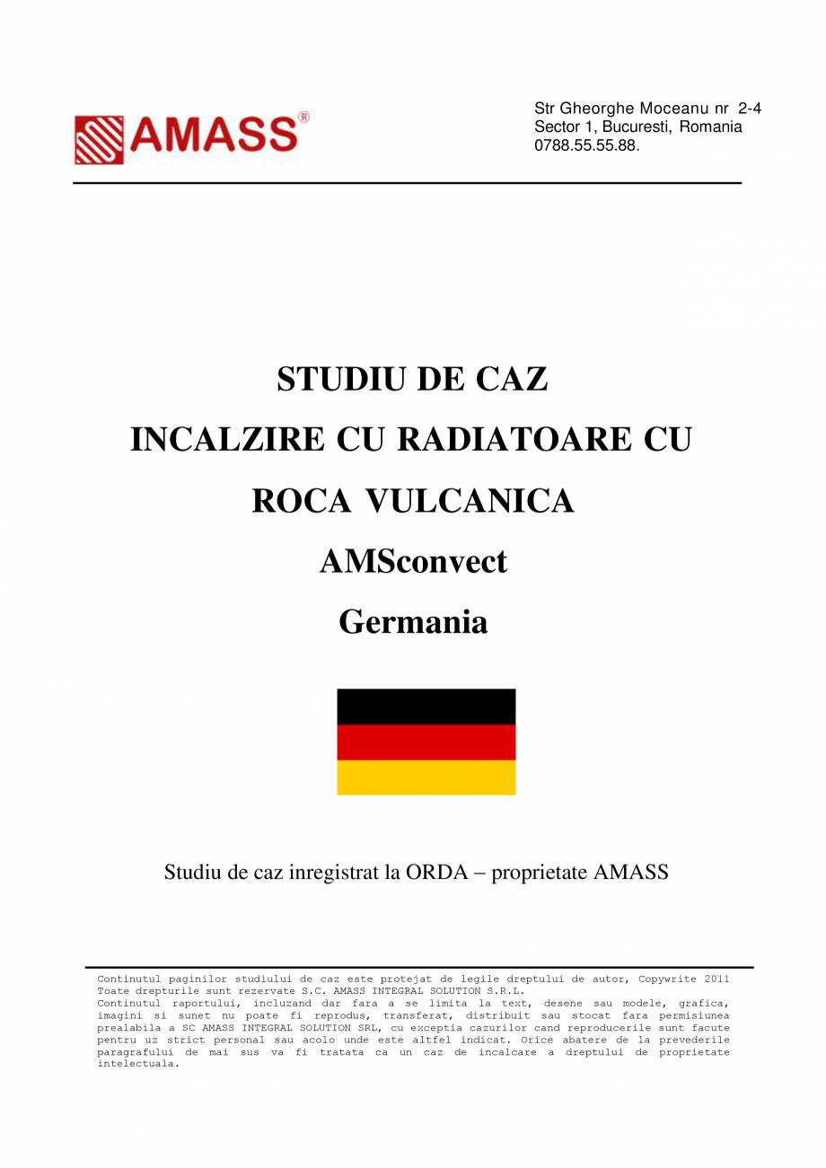 Pagina 1 - Studiu de caz - Incalzire cu radiatoare cu roca vulcanica AMASS Visage, Diamant...