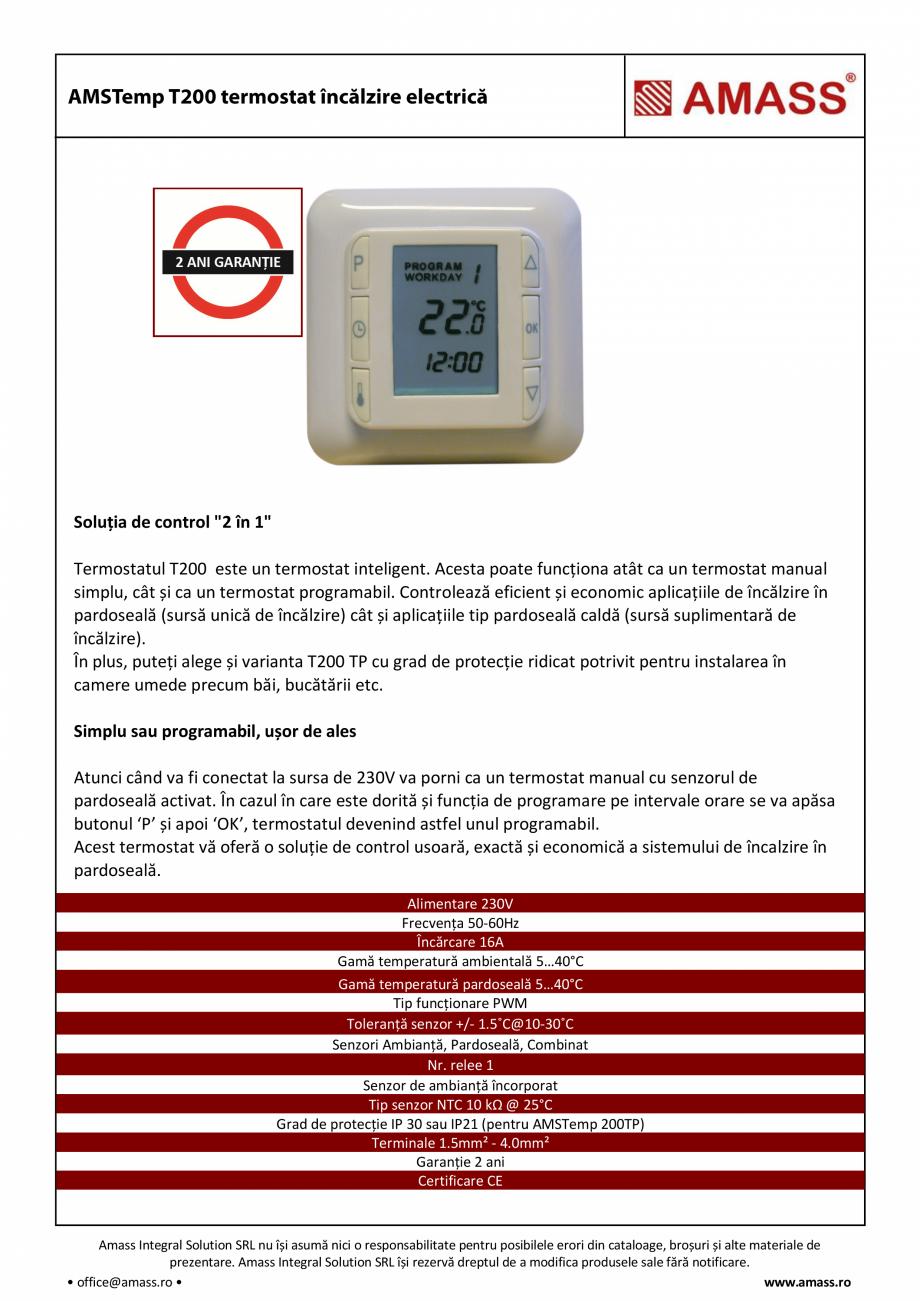 Pagina 1 - Termostat incalzire electrica AMASS  T200  Fisa tehnica Romana Soluția de control