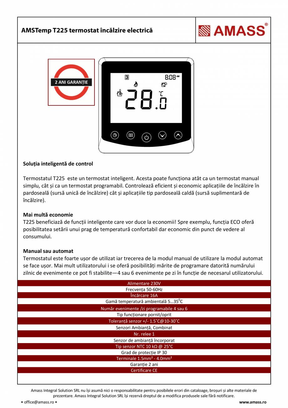 Pagina 1 - Termostat incalzire electrica AMASS T225  Fisa tehnica Romana Soluția inteligentă de...