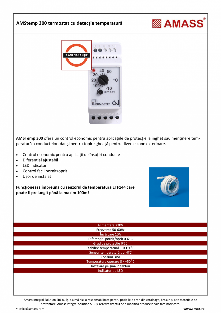 Pagina 1 - AMStemp 300 termostat cu detectie temperatura AMASS Fisa tehnica Romana AMStemp 300...