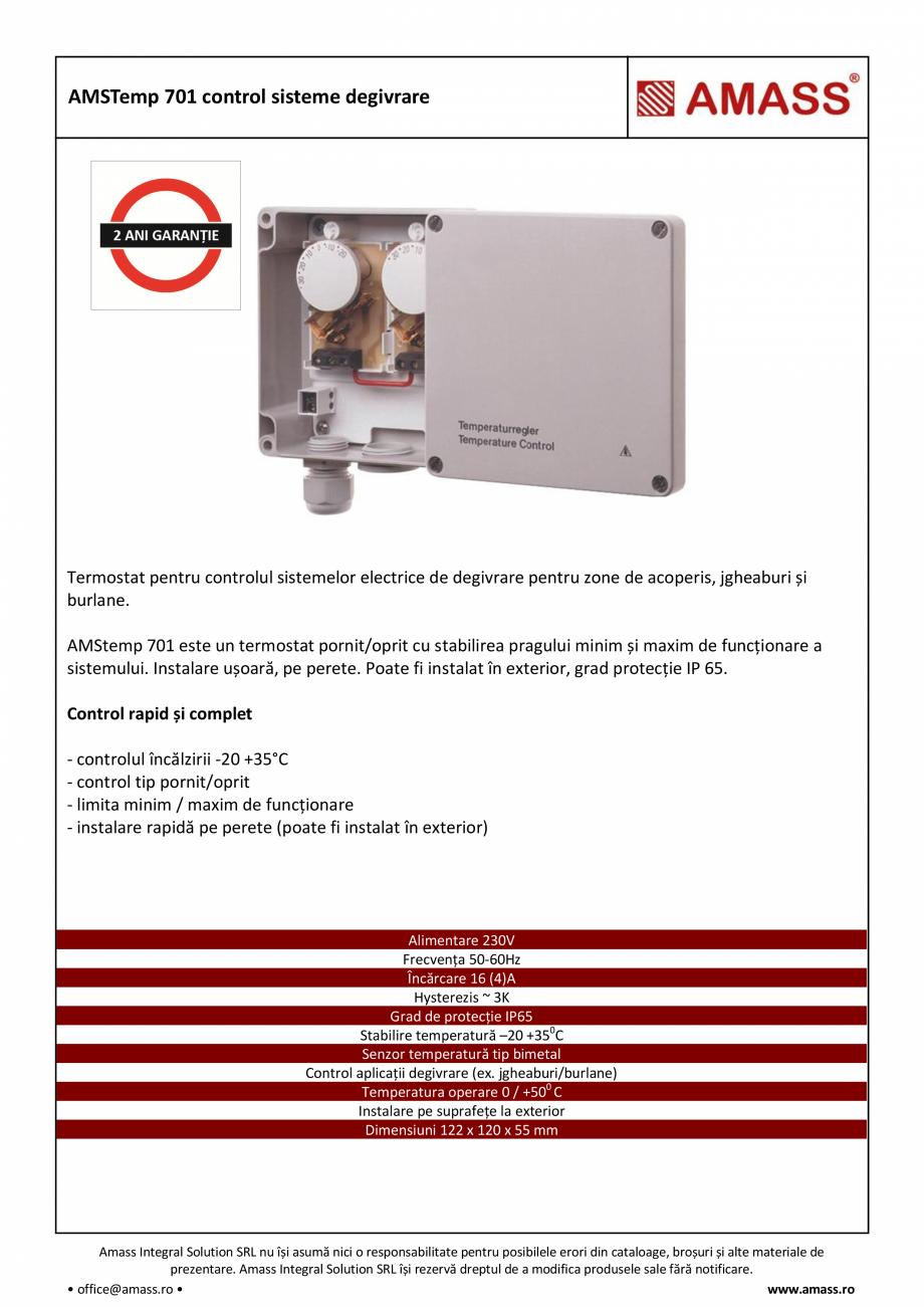 Pagina 1 - AMSTemp 701 control sisteme degivrare AMASS Fisa tehnica Romana AMSTemp 701 control...