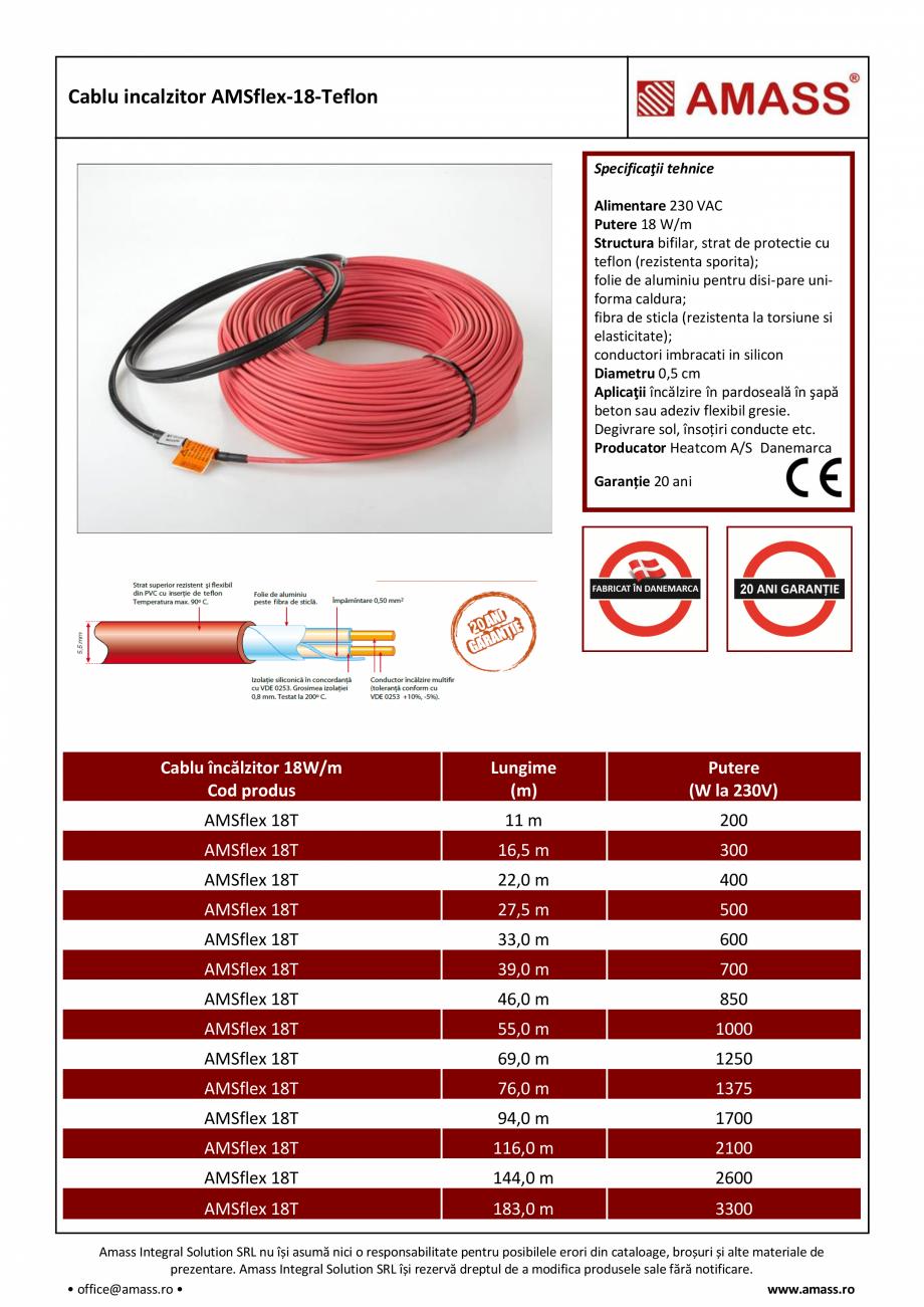 Pagina 1 - Cablu incalzitor AMASS AMSflex-18-Teflon Fisa tehnica Romana Cablu incalzitor...