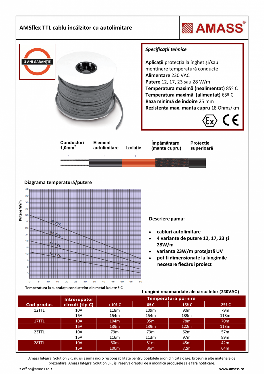 Pagina 1 - Cablu incalzitor cu autolimitare AMASS AMSflex TTL Fisa tehnica Romana AMSflex TTL cablu ...