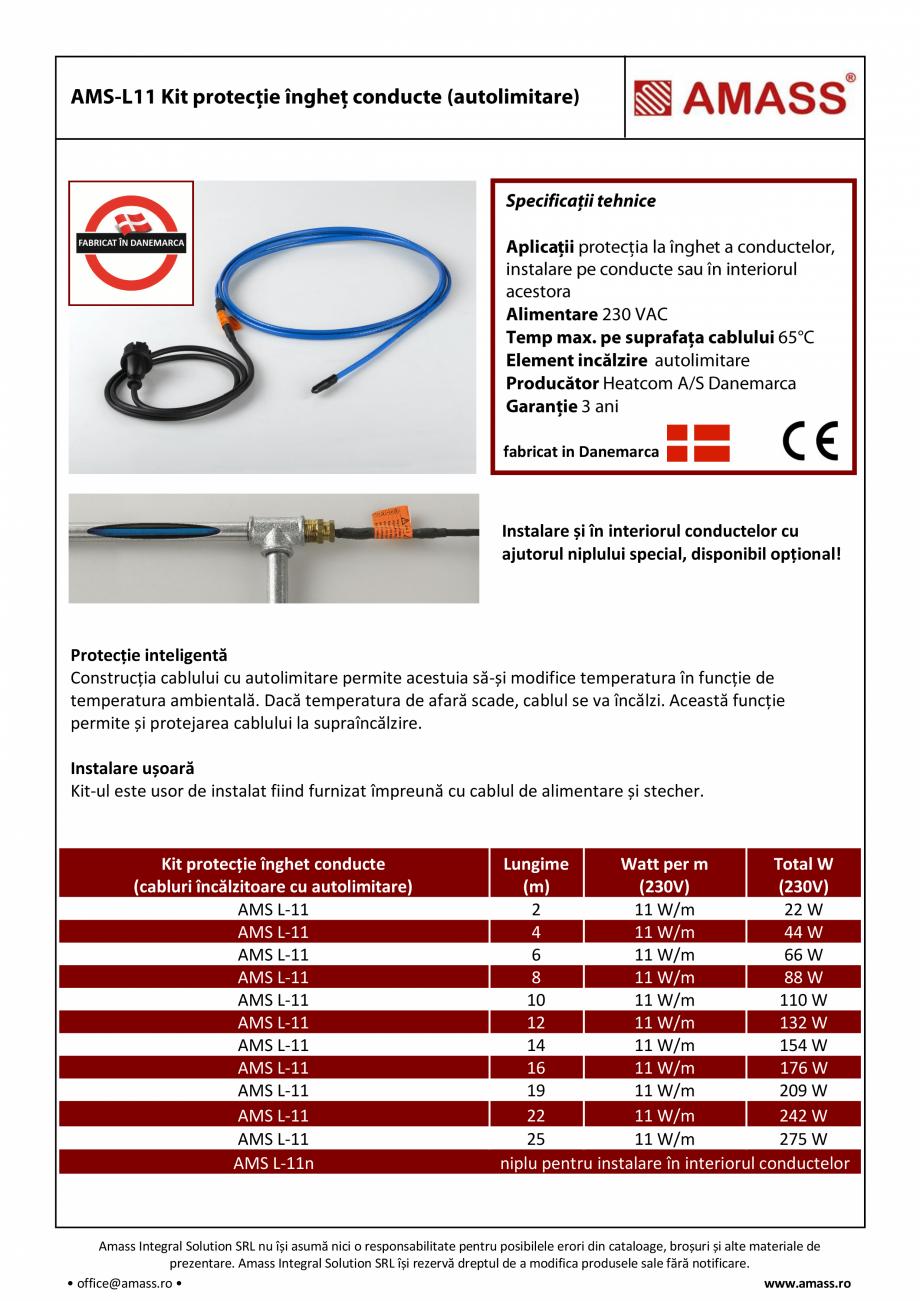 Pagina 1 - Kit protectie inghet conducte (autolimitare) AMASS AMS-L11 Fisa tehnica Romana fabricat...