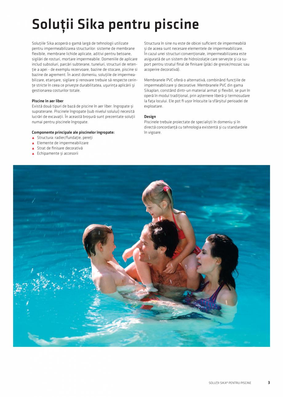 Pagina 3 - Solutii Sika pentru piscine  Catalog, brosura Romana ructurilor: sisteme de membrane...