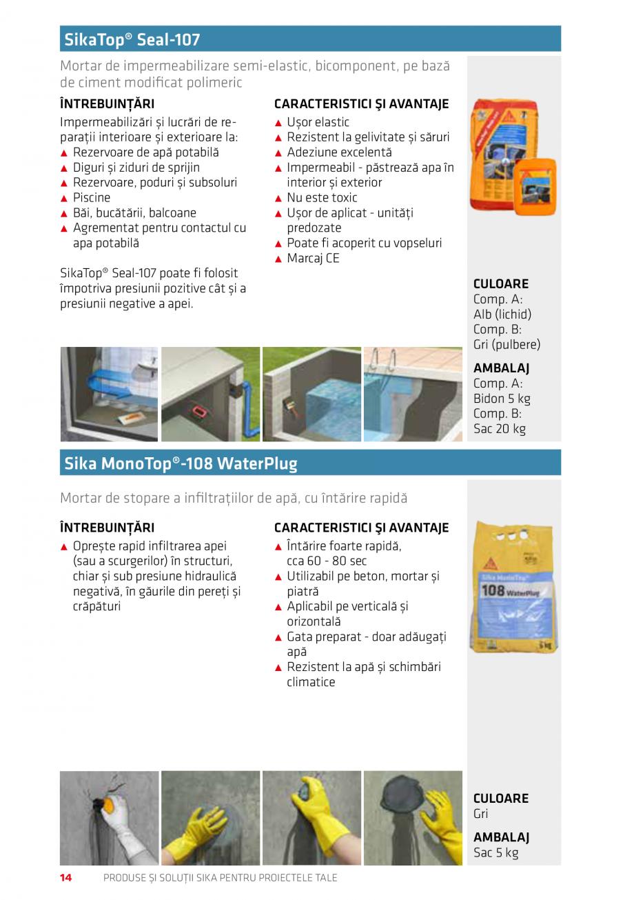 Pagina 14 - Produse si solutii Sika pentru proiectele tale  Catalog, brosura Romana NTER, NEW YORK, ...