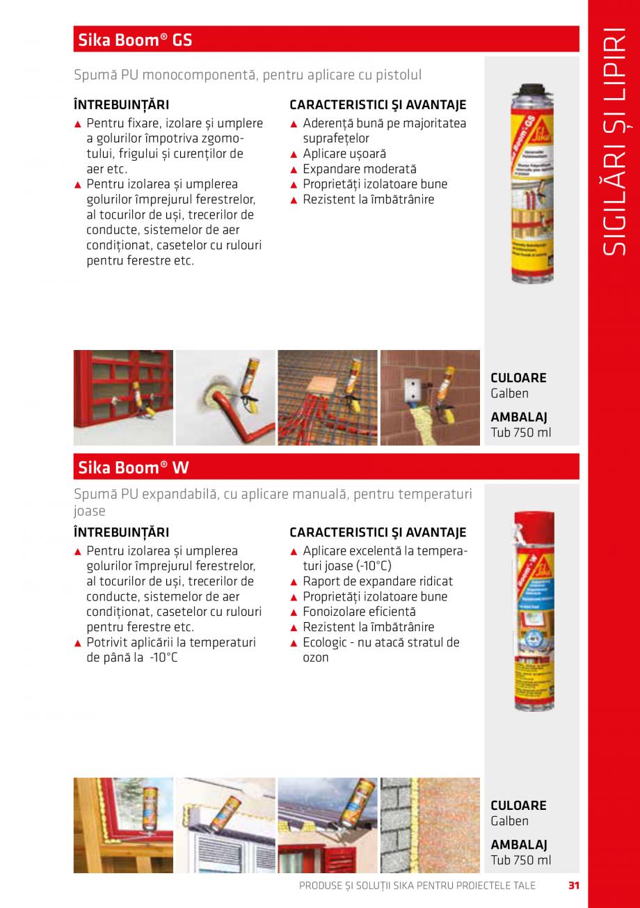 Pagina 31 - Produse si solutii Sika pentru proiectele tale  Catalog, brosura Romana cm PRODUSE ȘI...