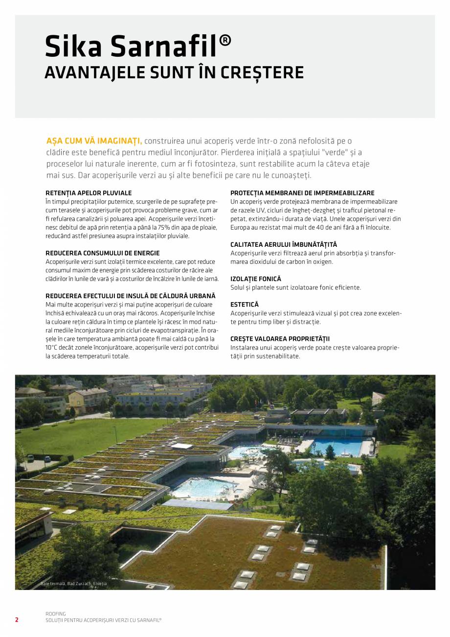 Pagina 2 - Solutii pentru acoperisuri verzi cu SARNAFIL  Catalog, brosura Romana  de răcire ale...