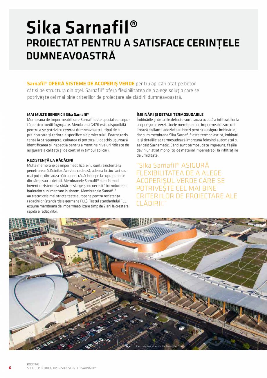 Pagina 6 - Solutii pentru acoperisuri verzi cu SARNAFIL  Catalog, brosura Romana  costă mai mult...