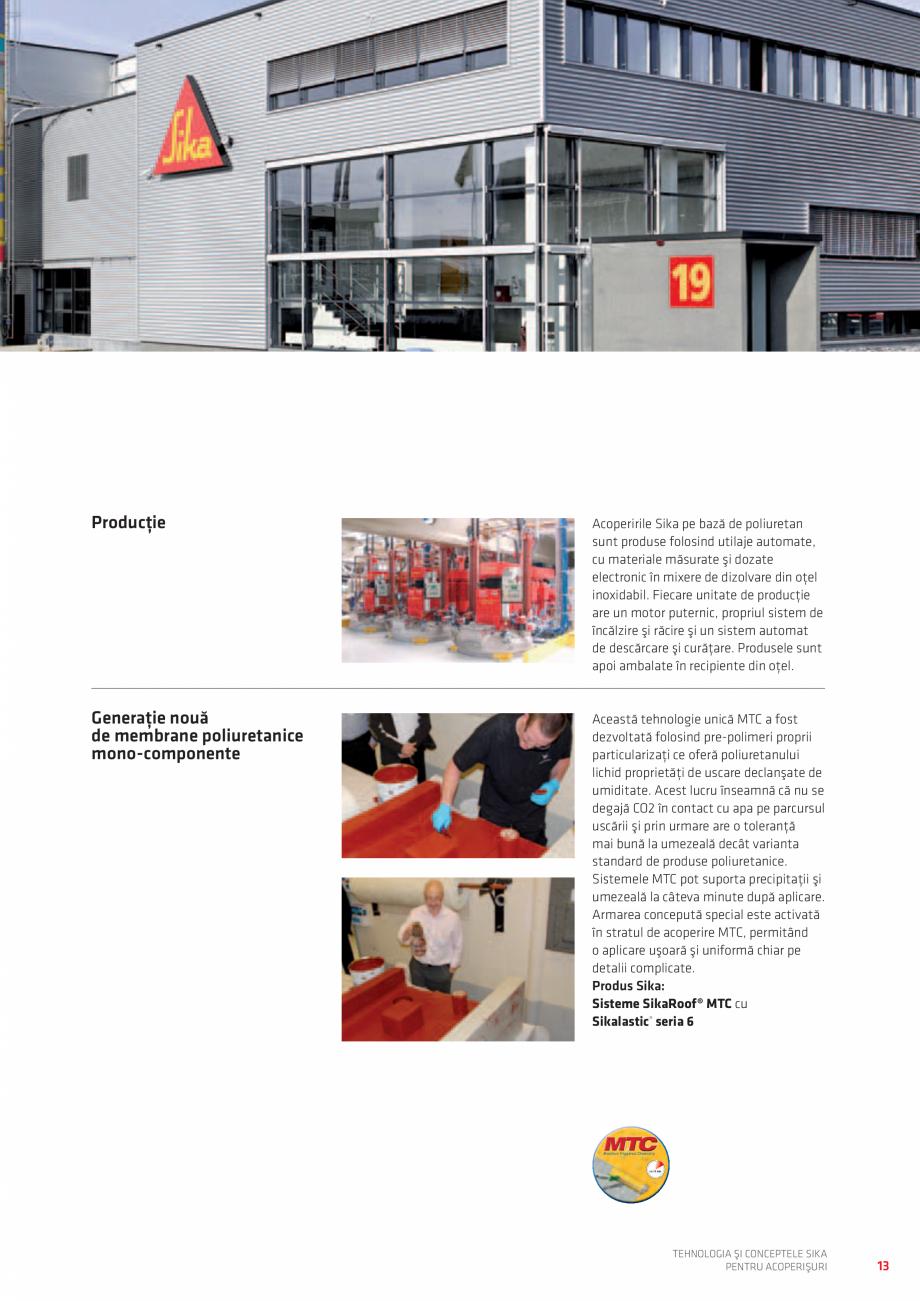 Pagina 13 - Tehnologia si conceptele SIKA pentru acoperisuri  Catalog, brosura Romana imentar din...