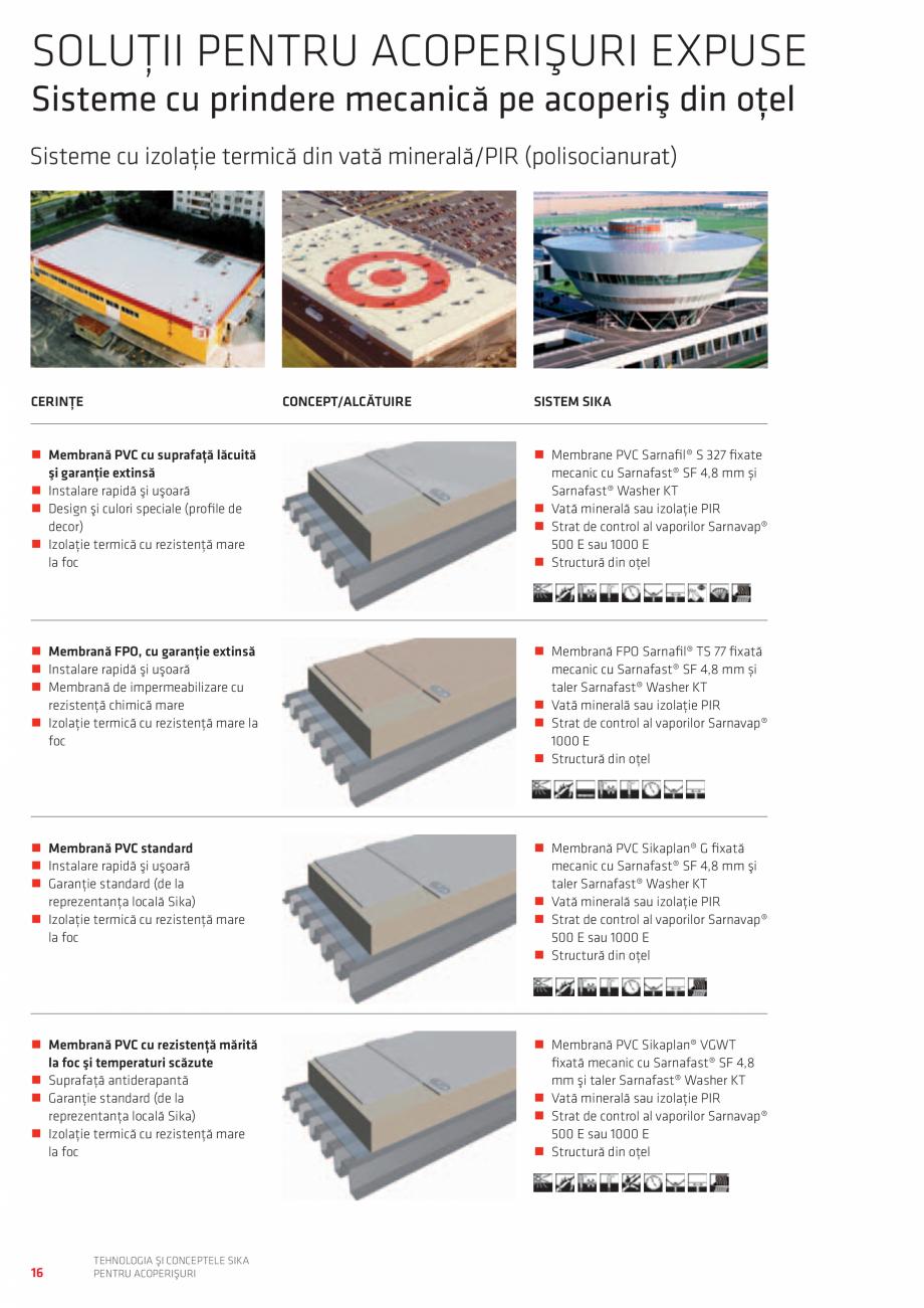Pagina 16 - Tehnologia si conceptele SIKA pentru acoperisuri  Catalog, brosura Romana PENTRU...