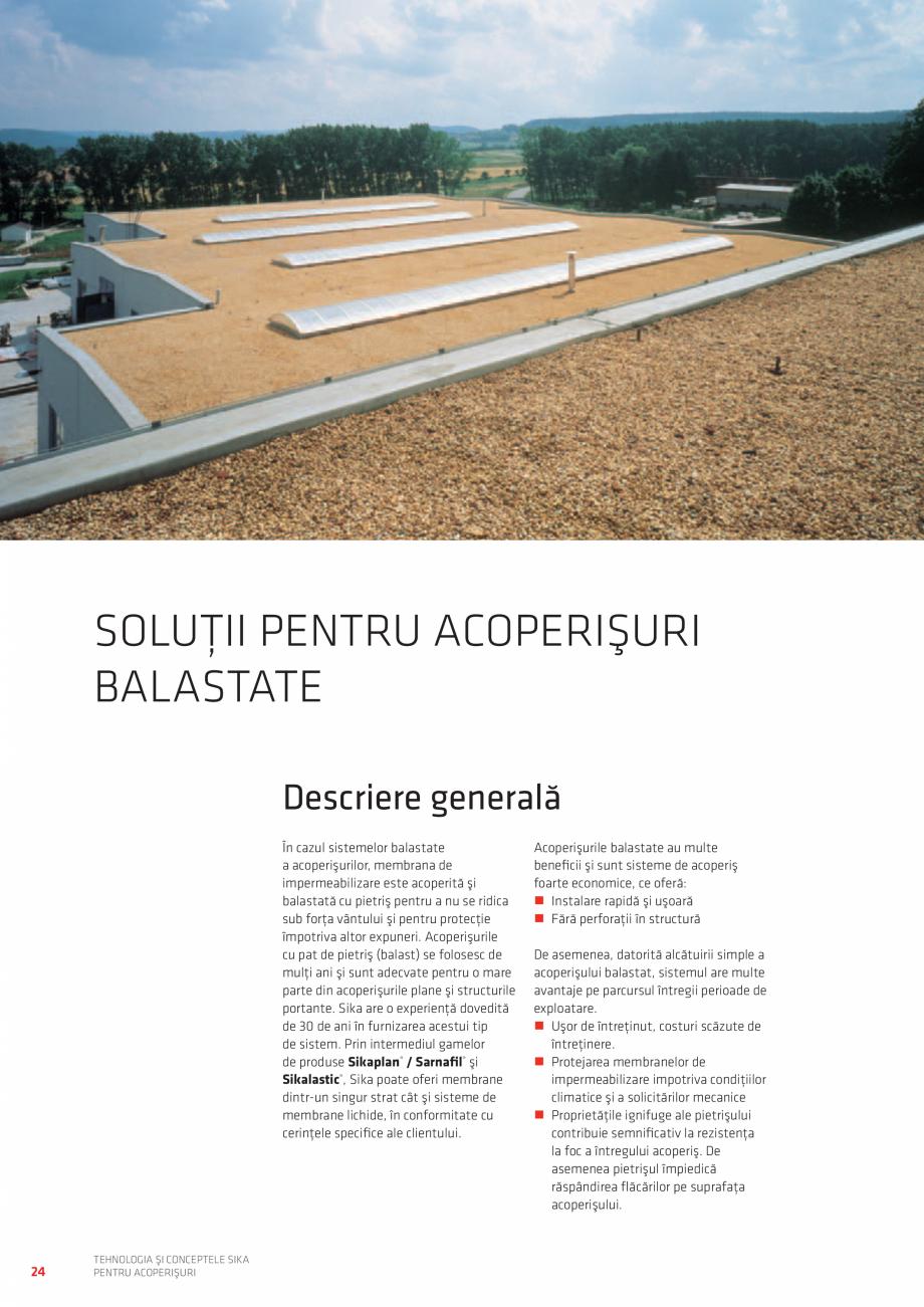 Pagina 24 - Tehnologia si conceptele SIKA pentru acoperisuri  Catalog, brosura Romana  G fixată...