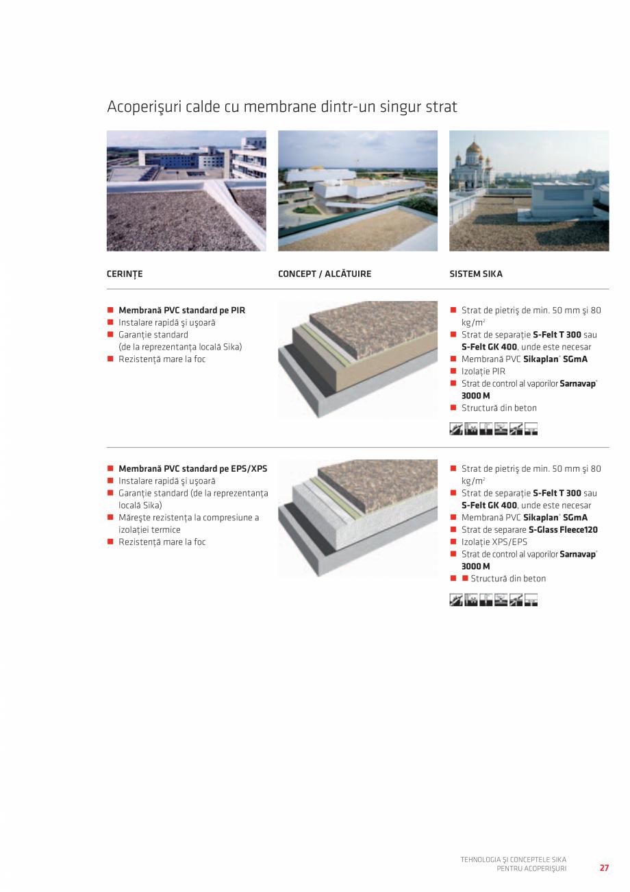Pagina 27 - Tehnologia si conceptele SIKA pentru acoperisuri  Catalog, brosura Romana ERINŢE ...