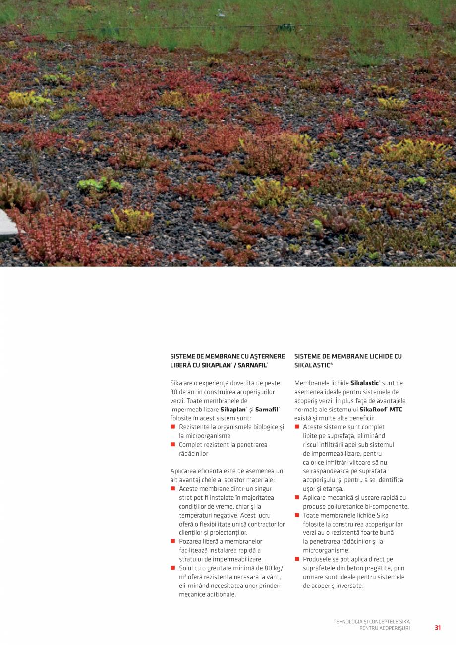 Pagina 31 - Tehnologia si conceptele SIKA pentru acoperisuri  Catalog, brosura Romana Strat...