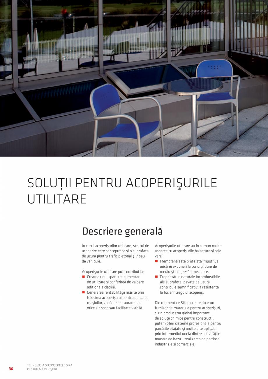 Pagina 36 - Tehnologia si conceptele SIKA pentru acoperisuri  Catalog, brosura Romana  LIBERĂ CU...