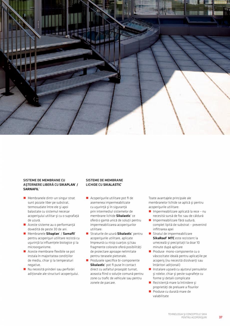 Pagina 37 - Tehnologia si conceptele SIKA pentru acoperisuri  Catalog, brosura Romana ite cu un pat ...