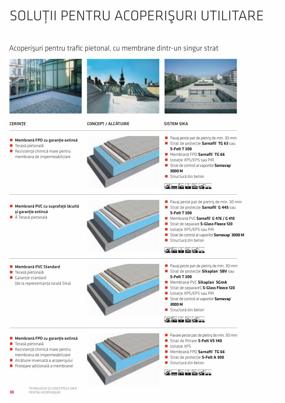 Pagina 38 - Tehnologia si conceptele SIKA pentru acoperisuri  Catalog, brosura Romana de protecţie ...